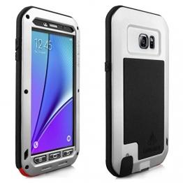 Alienwork Schutzhülle für Samsung Galaxy Note 5 Stoßfest Hülle Case Bumper spritzwasserfest Super-Härte Metall silber SGN501-03 - 1