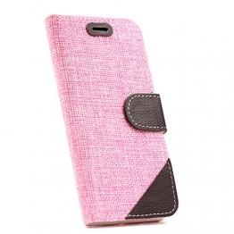 Apple iPhone 6 Plus Hülle, Caseday® [STOFF SERIES] Schutz-Hülle Schale Flip Tasche Rosa - 1