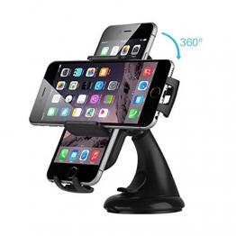 EC Technology Universal KFZ Halterung, 360-Grad-Drehung, mit starken Saugnapf für iPhone 6/6S/Samsung Galaxy S6 und andere Handy schwarz - 1