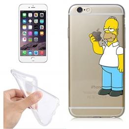 FINOO ®   Handyhülle TPU Silikon Iphone 6/6S Homer isst Apfel - 1