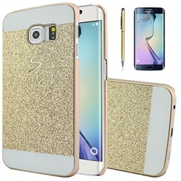 FonGup Samsung Galaxy S6 Edge Hülle - [3in1 Set] Golden Rahmen Stoßstange Gold Bumper Hard Case Glänzend Harten Tasche für Samsung Galaxy SM-G9250 (2015) Schutzhülle Bling Hart Etui Rückseite Kunststoff Samsung S6 Edge Schutz Snap-on Skin Protection +1x Eingabestift Stylus Pen +1x Display Schutzfolie - 1