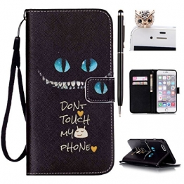 "iPhone 6 plus Handytasche, Felfy Ultra Slim Flip für / Apple iPhone 6/6S plus 5.5"" / Leder Etui Ledertasche Schutzhülle Case / ablösbar Handliche Handy Strap Blue Eyes Don't Touch my phone Design/ 1x Schwarz Eule Stöpsel / 1x Black Stylus - 1"