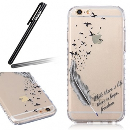 iPhone 6S Plus Hülle,iPhone 6 Plus Hülle,Ukayfe iPhone 6S Plus /6 Plus 5.5 Zoll Hülle TPU Case Schutzhülle Silikon Crystal Clear Case,Niedliche Cartoon Malerei Weiß Blumen Flower Muster Durchsichtige Rückschale und TPU Bumper Handy Tasche Case Cover Etui für Apple iPhone 6S/6 Plus mit 1 x Schwarze Eingabestift (Black Feder Flying Bird) - 1