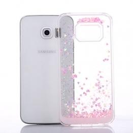 iProtect Schutzhülle Samsung Galaxy S6 Edge Hülle Herzchen und Glitzer-Regen rosa mit Schneekugel-Effekt - 1