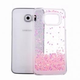iProtect Schutzhülle Samsung Galaxy S6 Hülle Herzchen und Glitzer-Regen rosa mit Schneekugel-Effekt - 1