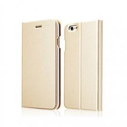 Japace® Klapp Handy Schutz Hülle Elegante Buch Leder Tasche Schale aus Kunstleder für Apple iPhone 6 / 6s 4.7 Zoll Flip Case Book Cover Etui - Gold - 1