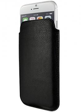 """keib Echt Leder Tasche Apple iPhone 6S Plus und iPhone 6 Plus (5.5"""") Schwarz extra Dünn - 1"""