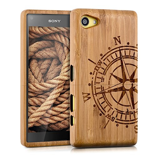kwmobile holz h lle bambus case f r sony xperia z5 compact handy schutzh lle cover mit kompass. Black Bedroom Furniture Sets. Home Design Ideas