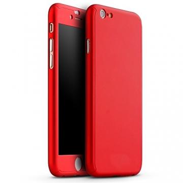 Oats® Apple iPhone 6 Plus / 6s Plus Hülle Rundum Schutzhülle mit Displayschutz Glasprotector Schutzfolie Tasche Hard Cover Back Case - von OKCS in Rot - 1