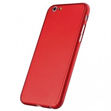 Oats® Apple iPhone 6 Plus / 6s Plus Hülle Rundum Schutzhülle mit Displayschutz Glasprotector Schutzfolie Tasche Hard Cover Back Case - von OKCS in Rot - 2