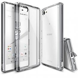 Ringke FUSION Case Sony Xperia Z5 Compact Hülle Cover [Neu Staub Kappe][SMOKE BLACK] Premium Ultra Slim Bumper Hard Case Schutzülle für Sony Xperia Z5 Compact - 1