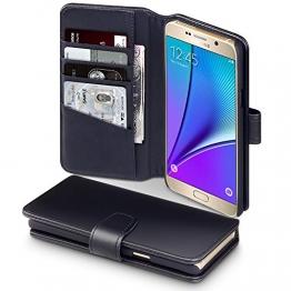Samsung Galaxy Note 5 Case, Terrapin [ECHT LEDER] Brieftasche Case Hülle mit Kartenfächer und Bargeld für Samsung Galaxy Note 5 Hülle Schwarz - 1