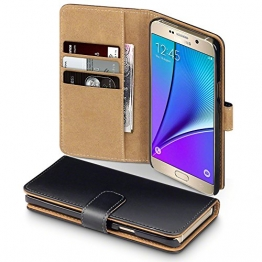 Samsung Galaxy Note 5 Case, Terrapin Handy Leder Brieftasche Case Hülle mit Kartenfächer für Samsung Galaxy Note 5 Hülle Schwarz mit Hellbraun Interior - 1