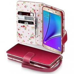 Samsung Galaxy Note 5 Cover, Terrapin Handy Leder Brieftasche Case Hülle mit Kartenfächer für Samsung Galaxy Note 5 Hülle Rot mit Blumen Interior - 1