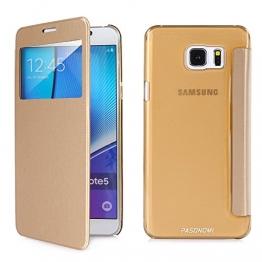 Samsung Galaxy Note 5 Hülle, Pasonomi® [View Window] [Ultra Slim] Smart Handy Tasche Schutz Hülle Bumper Hard Schale Wallet Flip Cover Etui für Samsung Galaxy Note 5 (View-Gold) - 1