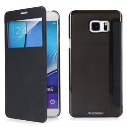Samsung Galaxy Note 5 Hülle, Pasonomi® [View Window] [Ultra Slim] Smart Handy Tasche Schutz Hülle Bumper Hard Schale Wallet Flip Cover Etui für Samsung Galaxy Note 5 (View-Schwarz) - 1
