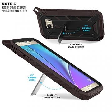 Samsung Galaxy Note 5 Schutzhülle - Poetic [Revolution-Serie] - [Schwerlast] [Zweilagig] Komplette, hybride Case Hülle mit eingebautem Displayschutz für Samsung Galaxy Note 5 (2015) Schwarz/Dunkelgrau (3 Jahre Herstellergewährleistung von Poetic) - 3