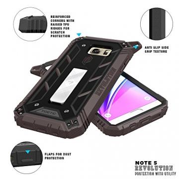 Samsung Galaxy Note 5 Schutzhülle - Poetic [Revolution-Serie] - [Schwerlast] [Zweilagig] Komplette, hybride Case Hülle mit eingebautem Displayschutz für Samsung Galaxy Note 5 (2015) Schwarz/Dunkelgrau (3 Jahre Herstellergewährleistung von Poetic) - 4