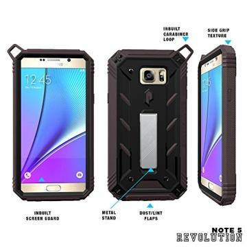 Samsung Galaxy Note 5 Schutzhülle - Poetic [Revolution-Serie] - [Schwerlast] [Zweilagig] Komplette, hybride Case Hülle mit eingebautem Displayschutz für Samsung Galaxy Note 5 (2015) Schwarz/Dunkelgrau (3 Jahre Herstellergewährleistung von Poetic) - 5