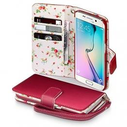 Samsung Galaxy S6 Edge Cover, Terrapin Handy Leder Brieftasche Case Hülle mit Kartenfächer für Samsung Galaxy S6 Edge Hülle Rot mit Blumen Interior - 1