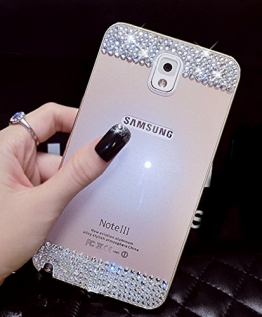 Samsung Galaxy S6 Edge Hülle, Luxus Ultra Thin Dünne Schönheit Aluminium - Legierung Metall Bumper Case Cover mit Crystal Diamant Back Panel Protective Tasche Schutzhülle für Samsung Galaxy S6 Edge (Gold) - 1