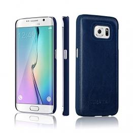 Samsung Galaxy S6 Edge Hülle, TURATA PC Hardcase mit PU Leder Schutzhülle für Samsung Galaxy S6 Edge (Tief blau) - 1