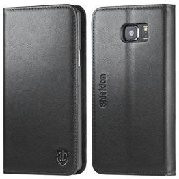 SHIELDON Samsung Galaxy Note 5 Ledertasche Magnetisch aus echtem Leder Case Tasche mit Kartenfach Standfunktion Schutzhülle im Bookstyle Lederhülle für Samsung Galaxy Note 5, Schwarz - 1