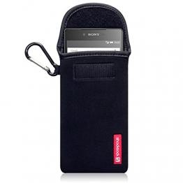 Shocksock Sony Xperia Z5 Premium Neopren Tasche mit Carabiner für Sony Xperia Z5 Premium Hülle Schwarz - 1