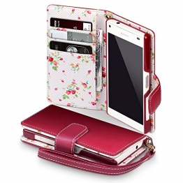 Sony Xperia Z5 Compact Cover, Terrapin Handy Leder Brieftasche Case Hülle mit Kartenfächer für Sony Xperia Z5 Compact Hülle Rot mit Blumen Interior - 1