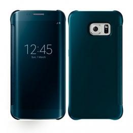 Spiegel Handy Case Flip Schutzhülle Etui f. Samsung Galaxy S6 Edge Blau - 1