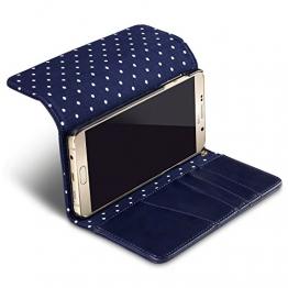 Terrapin Handy Deluxe Leder Brieftasche Case Tasche Hülle mit Kartenfächer für Samsung Note 5 Hülle Blau mit Gepunktet Interior - 1