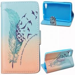 Voguecase® für Sony Xperia Z5 Compact(4,6 Zoll) , Kunstleder Tasche PU Schutzhülle Tasche Leder Brieftasche Hülle Case Cover (Grün Gefieder 02) + Gratis Universal Eingabestift - 1