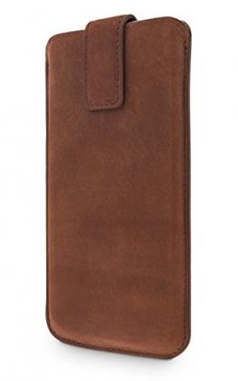 wiiuka Echt Ledertasche CLOSE Sony Xperia Z5 Compact Vintage Braun Design mit Rausziehband Premium Hülle - 1