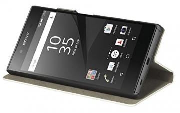 yayago Book style Tasche für Sony Xperia Z5 Hülle Slim mit Standfunktion Cremeweiß - 2