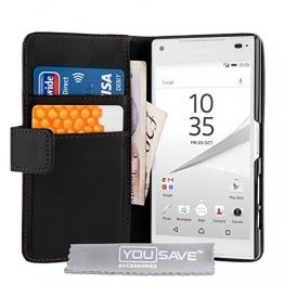 Yousave Accessories Sony Xperia Z5 Compact Tasche Schwarz PU Leder Brieftasche Hülle - 1