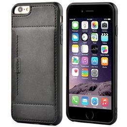 ZVE Iphone 6 6S Plus Lederhülle mit kartenfach Lasche Handytasche Case für Apple Iphone 6 Plus/6S Plus 5,5 Zoll (Schwarz) - 1
