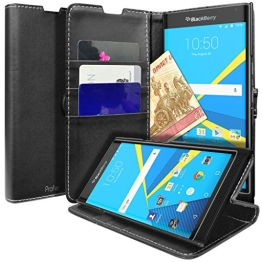 BlackBerry Priv Hülle, Profer [Premium Leder Serie] Schutzhülle Premium PU Leder Flip Tasche Case Cover mit Integrierten Kartensteckplätzen und Ständer für BlackBerry Priv (Schwarz) - 1