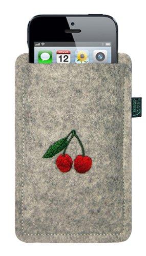 filztasche f r iphone se und iphone 5 s hellgrau motiv. Black Bedroom Furniture Sets. Home Design Ideas