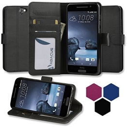 HTC One A9 Hülle, Abacus24-7 Elegant HTC A9 Kunstleder Flip Case Tasche Hülle Brieftasche Buch-Stil mit Standfunktion, Schwarz HTC One A9 Schutzhülle (HTC One A9 Case) - 1