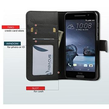 HTC One A9 Hülle, Abacus24-7 Elegant HTC A9 Kunstleder Flip Case Tasche Hülle Brieftasche Buch-Stil mit Standfunktion, Schwarz HTC One A9 Schutzhülle (HTC One A9 Case) - 2