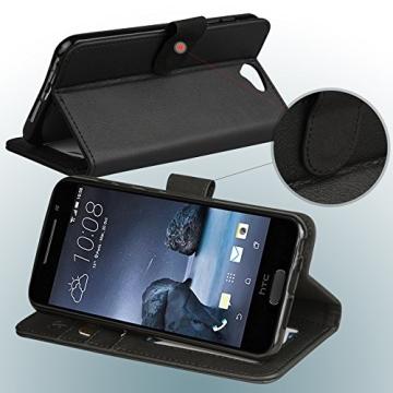 HTC One A9 Hülle, Abacus24-7 Elegant HTC A9 Kunstleder Flip Case Tasche Hülle Brieftasche Buch-Stil mit Standfunktion, Schwarz HTC One A9 Schutzhülle (HTC One A9 Case) - 3