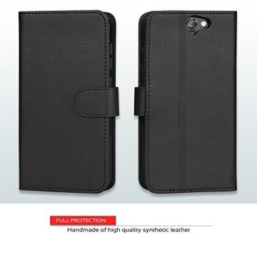 HTC One A9 Hülle, Abacus24-7 Elegant HTC A9 Kunstleder Flip Case Tasche Hülle Brieftasche Buch-Stil mit Standfunktion, Schwarz HTC One A9 Schutzhülle (HTC One A9 Case) - 4