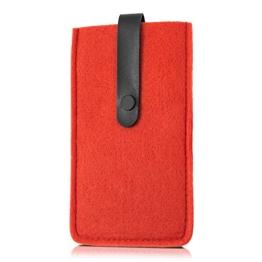 kwmobile Edle Filztasche mit Kunstlederlasche für Smartphones in Rot - 1