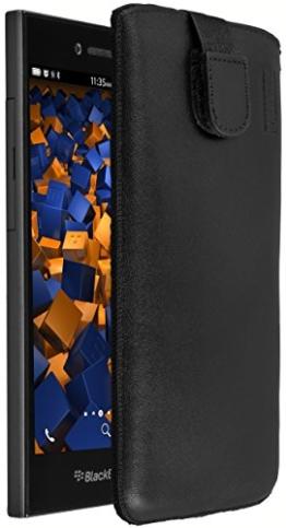 mumbi ECHT Ledertasche BlackBerry Leap Tasche Leder Etui (Lasche mit Rückzugfunktion Ausziehhilfe) - 1