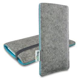 Stilbag Filztasche 'FINN' für Samsung Galaxy S6 - Farbe: hellgrau/azur - 1