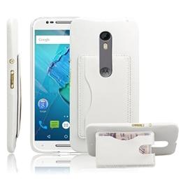 SZHTSWU Hülle für Motorola Moto X Style, PU Leder Tasche Schutzhülle Handyhülle Rückseite Cover Wallet Case Handyhülle mit Kartenfächern und Standfunktion für Motorola Moto X Style (5,7 Zoll) Weiß - 1