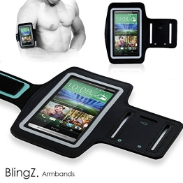 TheBlingZ.® Sport Armband fur HTC One M7 / HTC One M8 Handy Tasche Sport Case Jogging Schutz Hülle - Schwarz - 1