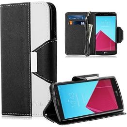 Vakoo Bookstyle Ledertasche für LG G4 Tasche weiß schwarz - 1