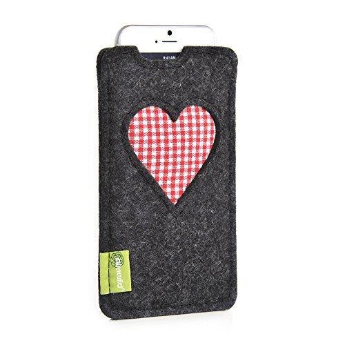 almwild h lle tasche f r apple iphone 7 plus 6s 6 plus aus filz in schiefer grau. Black Bedroom Furniture Sets. Home Design Ideas