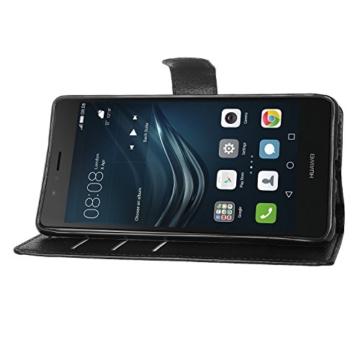 huawei Mate 9 pro hülle, KuGi huawei Mate 9 pro hülle / Fall - Hochwertige PU-Leder Ständer Wallet hülle für huawei Mate 9 pro smartphone.(Schwarz) - 4